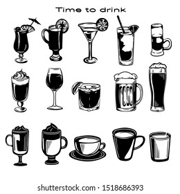 Vector hand drawn black and white set of drinks. Cups of coffee and glasses of cocktails.