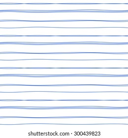 Vector hand drawn blue ink ruled lines background. Abstract seamless lined pattern.