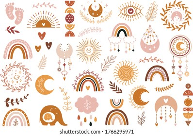 Vector hand drawn boho clipart for nursery decoration with cute rainbows and moon, sun, cloud, dream catcher. Doodle modern illustration. Perfect for baby shower, birthday, children's party