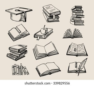 vector hand drawn Books stack sketch doodle