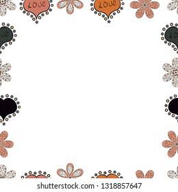 Vector. Hand drawn vector border frame doodles. Seamless pattern.