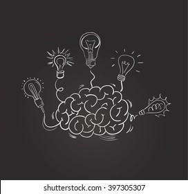 Vector hand drawn brain with different bulbs on blackboard. Idea concept. Sketchy style
