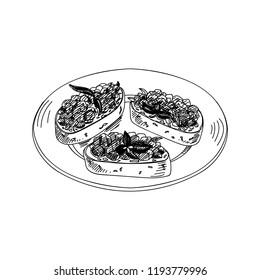 Vector hand drawn bruschetta antipasti. Dishes of Italian cuisine. Detailed retro style Illustration. Vintage sketch element for labels, packaging and cards design. Modern background.