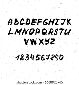 Vector hand drawn brush font. Black ink alphabet with numbers