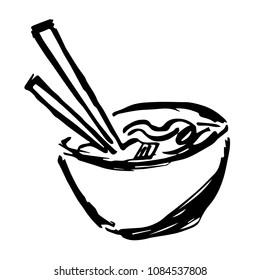 Vector Hand Drawn Brush of Japan Noodles Ramen Food. Flat, Icon, Sign, Logo, Symbol, Object, Graphic Design, Element, Background, Illustration for Print.