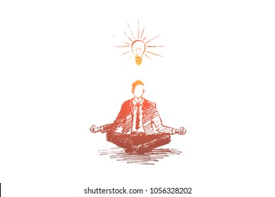 Vector hand drawn business idea sketch. Businessman sitting in lotus position, meditating and concentrating on ideas.