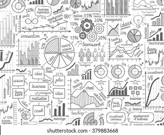 vector hand drawn business infographics sketch or set chart, graph, diagram doodle