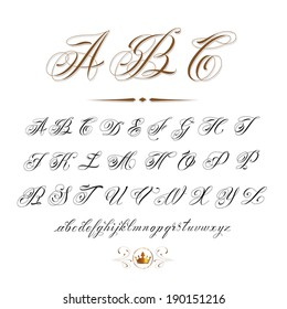 vector hand drawn calligraphic Alphabet based on calligraphy masters of the 18th century and tattoo artists of 20th century. Very often used in tattoo sketches
