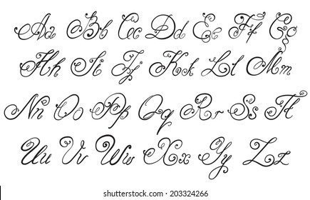 Vector hand drawn calligraphic Alphabet. Hand drawn letters.