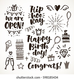 Vector hand drawn calligraphic illustration. Happy birthday set of lettering and graphic elements for invitation and greeting card, prints and posters. Festive positive design