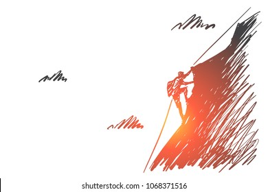 Vector hand drawn I can do it concept sketch. Alpinist climbing up high mountain with special cable rope alone.