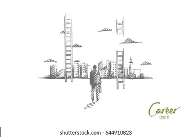 Vector hand drawn Career concept sketch. Businessman rear view standing and looking at skyscrappers of big city and ladder to sky