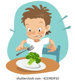 Vector hand drawn cartoon character illustration of a boy sitting at table with a plate of broccoli, looking shocked and disgusted. Picky eater, healthy food and parenting concept design element.
