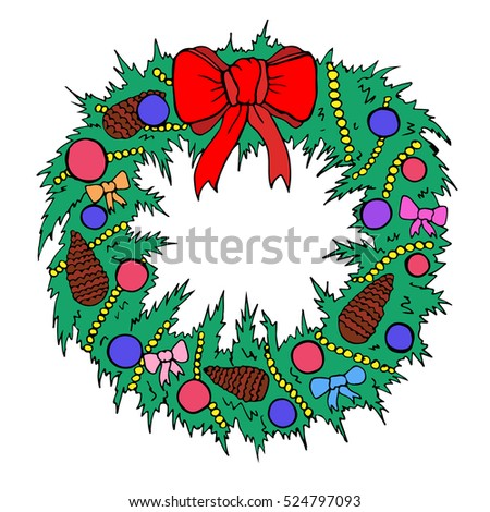 Vector Hand Drawn Cartoon Christmas Wreath Stock Vector Royalty