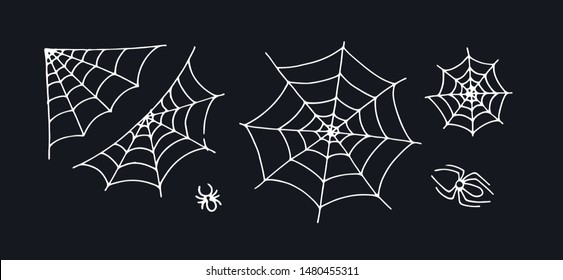 Vector hand drawn cartoon halloween element set. Collection of white outline spider silk net isolated on black background. Design holiday poster for party, invitation card, sale.
