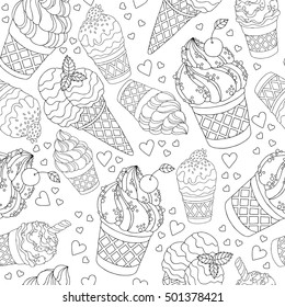 Vector hand drawn cartoon ice cream illustration for adult coloring book. Freehand sketch for adult anti stress coloring book page with doodle and zentangle elements. Seamless abstract wallpaper
