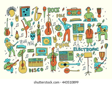 Vector hand drawn cartoon icons. Music genres theme. Line colored doodle icons. Music illustration for textil, paper, polygraphy, game, web design