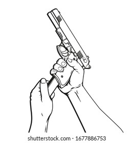 Vector hand drawn cartoon illustration of human hands with gun reload, isolated on white background