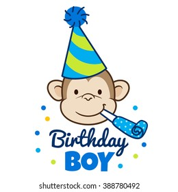 """Vector hand drawn cartoon illustration of a happy monkey face in a party hat with party blower horn in mouth, with words """"Birthday Boy"""" below. Design element for party invitations, cards, banners."""