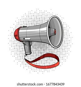 Vector hand drawn cartoon pop art illustration of megaphone with halftone background
