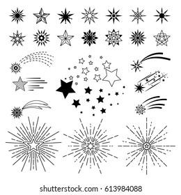 Vector hand drawn cartoon stars. Doodle sketch night star set