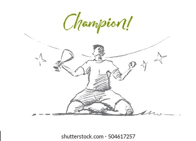 Vector hand drawn champion sketch. Sportsman or football player sitting with victory cup in hand on stadium grass. Lettering Champion