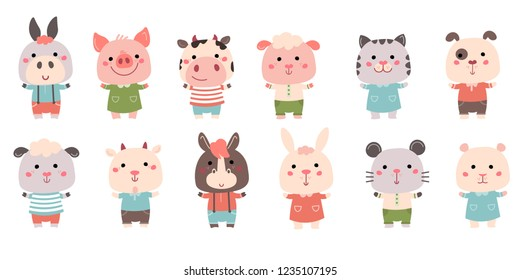 Vector Hand drawn characters: goat, pig, cow, sheep, cat, dog, mouse, rabbit, hamster, donkey. For cards, invitations, baby clothes, posters and prints