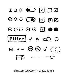 Vector hand drawn check boxes, radio buttons, switch buttons, scroller, arrows
