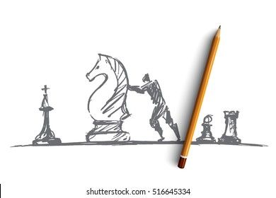 Vector hand drawn chess people concept sketch with pencil over it. Man trying to move huge chess knight
