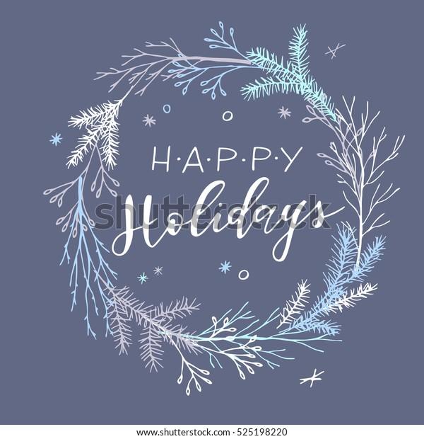 Vector hand drawn Christmas card. Elegant minimalist holiday card. Happy Holidays