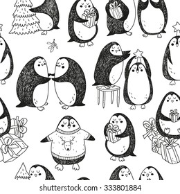 vector hand drawn christmas pattern with cute abstract penguins