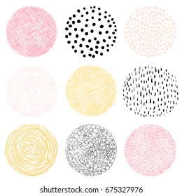 Vector hand drawn circles with lines, dots and scribbles for labels and graphic design - abstract geometric shapes