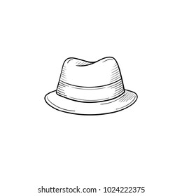 493c6ef4244 Vector hand drawn classic hat outline doodle icon. Accessory sketch  illustration for print