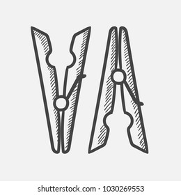 Vector hand drawn Clothespins outline doodle icon. Clothespins sketch illustration for print, web, mobile and infographics isolated on white background.