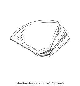Vector hand drawn Vector hand drawn coffee filter Illustration. Illustration. Detailed retro style coffee filters image. Vintage sketch element for labels, packaging and cards design.