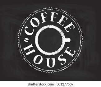Vector of Hand Drawn Coffee House label on Chalkboard. Cup (top view), bean, round shape. Retro/vintage style. For cafe or coffee house menu, package decoration, design element, web usage etc. Eps 10