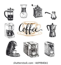 Vector hand drawn coffee set. Coffee products.Vector illustration. Sketch