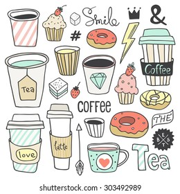 Vector hand drawn coffee and sweets collection. Plastic and paper coffee and tea cups, donuts, cupcakes, cute elements. Use for menu design, web page background, poster, birthday card, surface texture