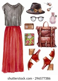 Vector hand drawn collage of summer,spring ore autumn girl clothing and accessories isolated on white background. Outfit of casual boohoo woman style. Create by watercolor