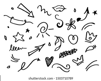 Vector hand drawn collection of curly arrow. swishes, swoops, swirl, heart, love, crown, flower, leaf, star, firework, highlight text and emphasis element, on white background, use for concept design