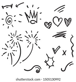 Vector hand drawn collection of design element doodle
