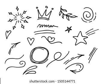 Vector hand drawn collection of design element. curly swishes, swoops, swirl, arrow, heart, love, crown, leaf, star, firework, highlight text and emphasis element. use for concept design