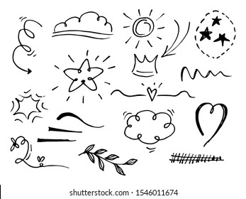 Vector hand drawn collection of design element. curly swishes, swoops, swirl, arrow, heart, love, crown, flower, star, starburst, firework, highlight text and emphasis element. use for concept design