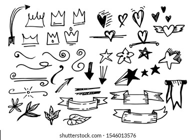 Vector hand drawn collection of design element. curly swishes, swoops, swirl, arrow, heart, love, crown, flower, star, starburst, riobbon, highlight text and emphasis element. use for concept design