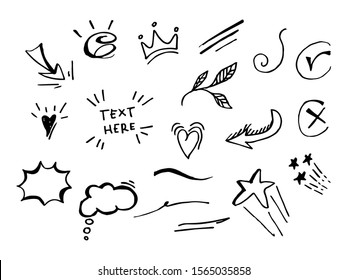 Vector hand drawn collection of design element. curly swishes, swoops, swirl, arrow, heart, love, crown, leaf, star, sun burst, firework, highlight text and emphasis element. use for concept design