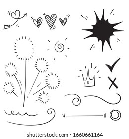 Vector hand drawn collection of design element star doodle