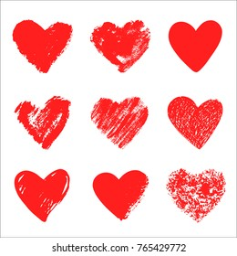 Vector hand drawn collection of graphic hearts. Design elements for Valentine's day. Brush and pen painting