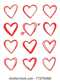 Vector hand drawn collection of graphic hearts. Design elements for Valentine's day. Brush painting. Vector Valentines love isolated hearts