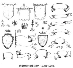 Vector hand drawn collection of heraldic templates: shield, flag, standard, ribbons, scrolls, crown, plants. Sketchy engraving style. Isolated medieval set.