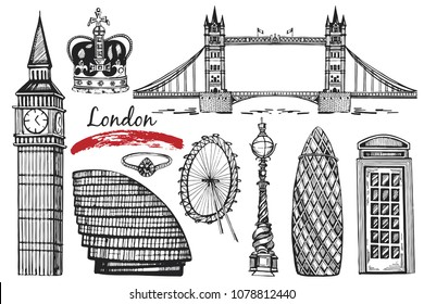 Vector hand drawn collection with London objects